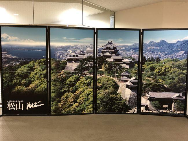 21019.6/15~6/17まで富山から愛媛まで息子とマイカーで高速道路を景色を見ながら交代で運転し 9時間 走りました。<br />ついに 愛媛の松山城へ着きました。<br />日本の城を廻るのが趣味にしているので文句なしです。<br />が 当日は 活発な梅雨前線が日本列島を横断中で 雨、所により ゲリラ雷雨があり 四国に入ってからが運転が大変でした。<br />写真は撮りましたが 雨でガスがかかり 残念な物になっております。<br />松山城 <br />ここへ行くには 松山城ロープウェイを利用します<br /><br />松山城の創設者は加藤嘉明です。<br />私の好きな武将の一人です。<br />嘉明は羽柴秀吉に見出されてその家臣となり、20才の時に賤ヶ岳の合戦において七本槍の一人としても有名です。<br /><br />慶長5年(1600)の関ヶ原の戦いにおいて徳川家康側に従軍し、その戦功を認められて20万石となります。<br />そこで嘉明は同7年に道後平野の中枢部にある勝山に城郭を築くため、<br />普請奉行に足立重信を命じて地割を行い工事に着手し、翌8年(1603)10月に嘉明は居を新城下に移し、<br />初めて松山という名称が公にされました。その後も工事は継続され、四半世紀の後にようやく完成します。<br /><br />当時の天守は五重で偉観を誇ります。<br />しかし嘉明は松山にあること25年、寛永4年(1627)に会津へ転封されることになりました。<br /><br />