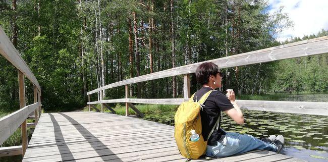 2019/6/21(金)から6/25(火)まで<br />北欧フィンランド ヘルシンキ旅行。<br />(すみません、興奮し旅の途中で随時更新中)<br /><br />白夜なのでついつい夜更かし出歩きしがち。<br />ツメコミすぎ、あわてない様にと思って行動してたら、ついのんびりしがち。<br />見知らぬところに行く時、不安からつい人に道確認頻繁にしがち。<br /><br />お友達にフィンランド行った人結構多く<br />キャンプ仲間だからか、キャンプ.トレッキング行ったよーと 私もやりたいなぁ~ って。<br />しかし、日数が足りなすぎ。<br />でもどこか近くでも是非とも行きたい!<br />フィンランドの自然ちょっとだけでも感じたい!<br />と教えてもらったヌークシオ国立公園へのお出かけの3日目<br /><br />1ユーロ:122円<br />