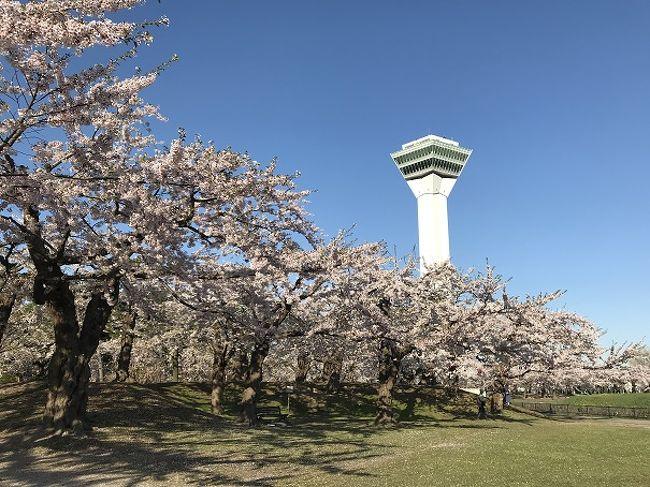 GWがせっかくの10連休なので、お花見をしに函館の有名な花見スポットまで日帰りドライブへ行って来ました。<br />この時期の函館へ向かう国道は渋滞することで有名なので、渋滞を回避するために早朝(夜中)に札幌あたりから出発。<br />おかげで滞りなく目的地へ到着でき、気持ちのいい朝の空気の中でお花見を楽しむことが出来ました。<br />ついでに朝市を少し散策し、立待岬で景色を楽しみ、2つめの目的であるラッキーピエロで食事をして帰宅。<br />あまりの混雑ぶりに、「もう二度とGW中はラッキーピエロにはいかない。。。」と誓った日帰り旅行になりました(笑)<br /><br />何はともあれ、もう数えきれないくらいの再訪になる函館ですが、やっぱり楽しかったです。
