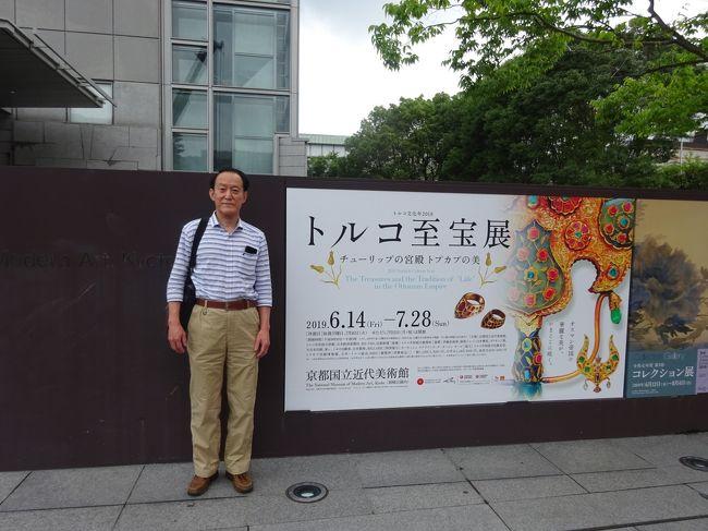 京都国立近代美術館を訪れ「チューリップの宮殿、トプカプの美」オスマントルコの至宝を見て来ました。昨年11月にトルコに行った折りは、トプカプ宮殿内のオスマン帝国のスルタンたちがコレクションした財宝の数々を展示している宝物館内「スプーン職人のダイヤモンド」と呼ばれる86カラットのダイヤや3つの巨大なエメラルドが輝く「トプカプの短刀」など、お宝が並んでいる宝物館が修復中で見学出来ませんでした。今回それらの宝物を見る事が出来るのではと期待して行ったのですが、期待外れでした。ドルマバブチェ宮殿で見た至宝に比べても見劣りを感じました。残念でした。あくまでも、個人の感想です。<br />美術館見学の後、平安神宮へ参拝し、京都駅で遅い昼食を取り帰ってきました。<br />