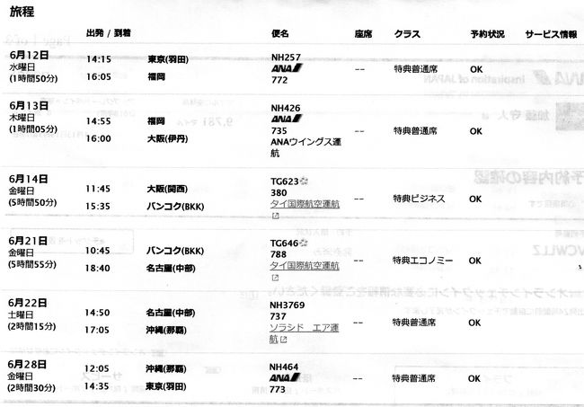 特典航空券で旅行してみました。羽田→福岡→伊丹 関西国際空港→バンコク→名古屋→沖縄→羽田<br />添付の旅程では福岡(14:55)→伊丹(16:00)となっていますが、ダイヤ改正のため、実際には福岡(16:20)→伊丹(17:25)に変更されました。特典航空券の利用ルールには違反となりますが、予約が先であったため、OKとのことでした。
