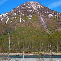 信州令和37 上高地b 焼岳-正面あたり 活火山の溶岩ドーム ☆大正池の水鏡に映え