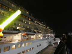 横浜半日観光のあと花火。そして、にっぽん丸と飛鳥の出航のお見送り。