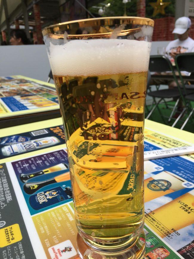 今回最大のお目当て、札幌ビール祭り(^.^) 一度来たかったんよね~(^.^)あこがれでした(^.^)<br />ビール祭りを最大に楽しむために、ランチは抜き!6時過ぎると地元のサラリーマンも出てきて、一杯になるって聞いてたから、3時にホテルチェックインしたら、そのままビール祭りへ!早めの晩飯にしましょう(^.^)<br /><br />洞爺湖温泉から直接札幌に行くのも芸がないから、ちょっと寄り道しながら行きましょか。<br />地図を見ながら、ニセコに行こうか、支笏湖に行こうか…。ニセコはここだけで一日終わっちゃうから、支笏湖に立ち寄って、ソフトクリーム。<br />万全の体調でビール祭りに挑みます!(^.^)