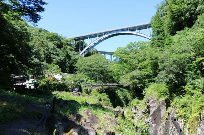 湯布院にある会社の保養所を利用して、2泊3日で国東半島のお寺めぐりと高千穂峡を観光して来ました。<br />今回は天気に恵まれ,その分とても暑く、大汗をかきながらの旅になりました。<br />今回の旅程は、<br />8月2日(金)山陽・中国・東九州自動車道を走って国東半島に行き、道の駅くにみで昼食後、富来神社・文殊仙寺・両子寺・天念寺・富貴寺を巡って湯布院で宿泊<br />8月3日(土)湯布院より、やまなみハイウェイを走って高千穂に向かい、天岩戸神社・天安河原・くしふる神社・高千穂神社を参拝後、高千穂峡を観光して湯布院に戻って宿泊。<br />8月4日(日)九重夢大吊橋観光後、来た道の逆ルートで、途中田舎の墓参りをしたのち帰宅しました。<br />走行距離はトータル1400Km。結構走りました。<br />今回は旅行2日目の高千穂観光と3日目の九重夢大吊橋観光を紹介します。<br />高千穂は天孫降臨の地ということで沢山のパワーをいただきました。<br />当初は『高千穂神社』『天岩戸神社』『天安河原』『荒立神社』『くしふる神社』の5つのパワースポットを回る予定でしたが、『荒立神社』の場所がわからず、4つのパワースポットしか回られなかったのが残念です。<br />それにしても初めて見る天の岩戸と天安河原、とても神秘的な所でした。<br />