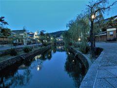 倉敷美観地区を観光。夜のライトアップも。くらしき桃子でパフェ。宿泊はロイヤルアートホテル。