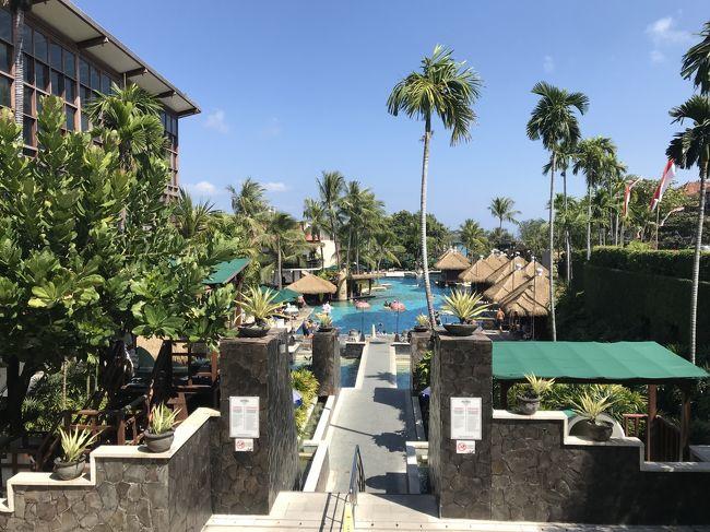恒例となりつつある、夏の東南アジア旅行。<br />夫、長男(小1)、次男(2歳)と行ってきました。<br /><br />シンガポールを経由してバリに到着です。<br />私にとって初めてのインドネシア。<br />初南半球。<br />そして記念すべき訪問20か国目。<br /><br />バリでは、クタ→サヌール→ウブドとそれぞれ2泊しました。<br />クタではハードロックホテル・バリに滞在。<br />そして活動エリアはほぼホテルのプールのみ。<br /><br />☆2日目<br />チャンギ→ングラライ(19:05)<br /><br />☆3日目<br />ホテルでプール三昧<br />Dulung cafe<br />フィッパー<br />マタハリデパート<br /><br />☆4日目<br />チェックアウト(11:30)ギリギリまでプール<br />