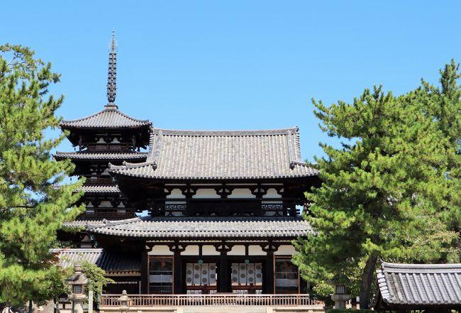 世界文化遺産に登録されている法隆寺、現存する世界最古の木造建築群として往時の姿を今に伝えています。<br />大垣と呼ばれる築地塀に囲まれ、国宝・重要文化財の建築物だけでも55棟に及びます。<br />仏教美術品も多数所蔵しており、その数は国宝・重要文化財を含めると約3000点にもなるといいます。<br />まさに日本のお宝、感動の連続でした。<br />