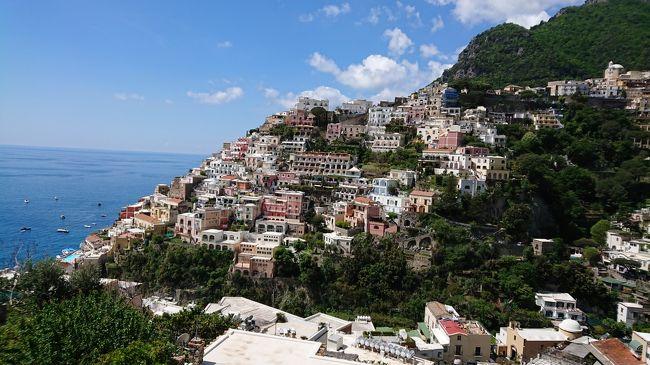 2019年GW。レンタカーで南イタリア(ナポリ→アルベロベッロ→アマルフィ)、そして、ローマを旅行してきました。<br /><br />この旅行記は5日目のプライアーノ(ポジターノ)から、一気に帰国までです。<br /><br />今回の旅行のプランは、まずイタリアに行きたいと思ったところから始まりました。そして、イタリアに行くなら、まだ行ったことがない地方へ行ってみたいと思い、その時に、浮かんだのが以前、映画「アマルフィ」で見た海に面した山の斜面のカラフルな家並み。<br />映画ではアマルフィという名で呼ばれていましたが、調べると、その街はポジターノでした。(確かにポジターノもアマルフィ海岸の一つの街ですが。。)<br /><br />イタリア→ポジターノが決まり、次に滞在できる日数からアマリルフィを中心にレンタカーで無理なく移動できると思われる行程を考えました。<br />イタリアに向かう前には「私も運転する!」と張り切って国際免許も取りましたが、一度は運転してみたものの、「これは私には無理!」あえなく挫折。。以降はおとなしく助手席に (^_^;)<br /><br />でも、ナポリから始まり、アルベロベッロ→ポンペイ→アマルフィと恵まれた天気のもと、素晴らしい南イタリアのドライブ旅行を楽しみ、とうとう、憧れの景色を見ることができました。(*^_^*)<br /><br /><行程><br /><br /> 1日目 関空(18:00 )→香港(20:55)<br /><br /> 2日目 香港(0:40)→ローマ(7:55)→列車→ ナポリ<br /><br /> 3日目 ナポリ→マテーラ→アルベロベ ッロ<br /><br /> 4日目 アルベロベッロ→ポンペイ遺跡→アマルフィ<br /><br />★5日目 アマルフィ→プライアーノ<br /><br />★6日目 プライアーノ→ナポリ→列車→ローマ①<br />  |  ローマ②<br />★8日目 ローマ③<br /><br />★9日目 ローマ(13:05)→香港(6:20)<br /> 10日目 香港(8:10)→関空(14:50)<br /><br />