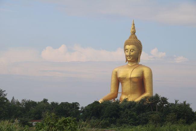昨日、行きたかったワット・バンライを見終えたテスヤがこの旅3大目的の3番目、最後の目的地、巨大座仏を目当てに、ワット・ムアンへ向かう。近くにアユタヤという世界遺産の町がありながらアーントーンというあまりメジャーでない町に泊まった事は朝から数か所の寺院を回る為であり、おそらく今まで旅行記にあまり登場していない寺院ばかりではないかと思われる。また、アユタヤはオマケ程度しか時間は取ってない。<br />よって、余程コアなタイ好き?寺好き?でなければ面白くも無いし、移動手段がレンタカーだから参考にもならない自分よがりな旅の記録。。。