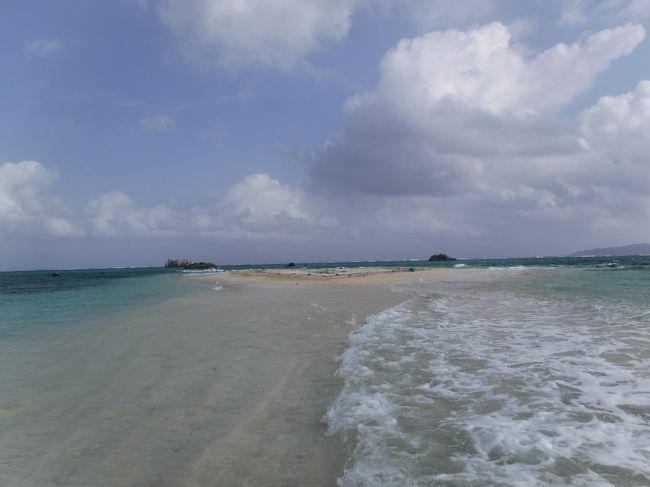 夏休みに西表島と石垣島へ行ってきました。<br />この旅行記5は石垣島3日目と最終日の4日目。午前中は幻の島へ上陸&シュノーケリングのツアーに参加し、石垣の海を満喫!熱帯低気圧の強風の中、幻の島へ向かう船はめっちゃ波が高くてまるでジェットコースター!わーわーきゃーきゃー言いながら、楽しかったです!幻の島は波が両側から押し寄せ不思議な感じ。シュノーケリングはきれいなお魚をたくさん見ることができました!<br />午後はフサキビーチへ。最後の晩餐は沖縄料理の民謡居酒屋でライブを楽しみました!<br />よかったらご覧ください。<br /><br />◆宿泊先<br />9/12-14 西表島 ヴィラ西表<br />9/14-18 石垣島 グランヴィリオリゾート石垣島 ヴィラガーデン<br /><br />◆旅程<br />&lt;旅行記1  9/12-13&gt;<br />星砂の浜<br />ピナイサーラの滝ツアー  カヌー&amp;トレッキング&amp;滝つぼ遊び 【ツアー:風車】<br />フルーツカフェとなり(お洒落なカフェでパフェ)<br />まるまビーチ(上原港近くの穴場ビーチ)<br />里中(イノシシのお刺身などお洒落居酒屋)<br /><br />&lt;旅行記2  9/14&gt;<br />由布島 水牛車、水牛お散歩<br />西表島野生生物保護センター<br /><br />&lt;旅行記3  9/14-15&gt;<br />ホテル滞在 グランヴィリオリゾート石垣島ヴィラガーデン<br />川平湾<br />伊原間サビチ洞(サビチ鍾乳洞)<br />玉取崎展望台<br />昼食 ウリウリカフェ<br />ホテル探検 卓球&amp;プール<br />夕食 金牛(石垣牛焼肉)<br /><br />&lt;旅行記4  9/16&gt;<br />竹富島 サイクリング(嶺本レンタサイクル)<br />   西桟橋<br />   コンドイビーチ<br />   カイジ浜<br />   パーラーパイヌシマ(ふわふわかき氷)<br />昼食 石垣港離島ターミナル売店  (おにぎり、マリヤシェイク)<br />米原ビーチ シュノーケリング<br />夕食 太門(中華)<br />石垣島天文台 天体観望会<br /><br />&lt;旅行記5   9/17-18&gt;<br />幻の島&amp;シュノーケリング【ツアー:やまんぐぅー】<br />昼食 担たん亭(ステーキ、牛汁、お子様ランチ)<br />フサキビーチ<br />夕食 うさぎや(民謡ライブ居酒屋)<br />ランチ パイヌカフェ(空港近くのお洒落カフェ)