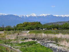 松本市郊外の薄川河畔から眺める北アルプスの絶景~里山辺集落の土蔵造り~(松本)