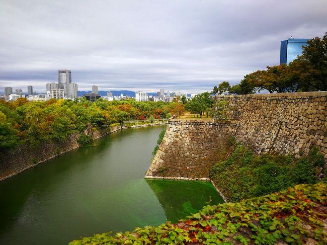 奥さんの誕生日近くなので去年と同じ時期に大阪に行きました。<br />大阪ではリーガロイヤルホテルに12時に待ち合わせ。東京からのフライトは7時40分頃に伊丹空港に到着。しばらくカードラウンジで時間を潰して大阪モノレール、阪急、大阪メトロで大阪城博物館、大阪城、道頓堀今井で昼ごはん、泊まったホテルはコンラッ大阪、翌日は姪っ子たちと宝塚ホテルで昼ごはんを食べて帰りました。<br /><br />泊まったホテル<br />コンラッド大阪/ツインデラックスルーム<br />(95000ポイント)<br />
