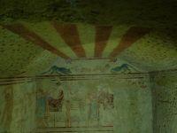 Tarquinia のエトルリア文明の遺跡。高松塚を思い出す墳墓内の壁画。