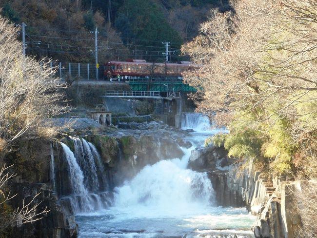 --もう、紅葉のシーズンは終了しかかってた--<br /> 11月下旬の異常としか言いようがない長雨のおかげで、今年の紅葉見物スケジュールは大幅に狂い、12月になって一縷の望みをかけ、山梨は大月までいってきたのだが。<br /> 行きは新登場の特急富士回遊号で富士急へ、湧水の里、都留市の奇景、「田原の滝」を見、帰りに、紅葉を期待して大月の猿橋へ。<br /> もう今年はこれでシーズン終了。紅葉は終わってたが、今年の長雨で轟々たる水量の、田原の滝は迫力があった。<br /> お昼の猿橋は、人も少なくひたすらのどかで、ゆっくりするにはいい所でした。紅葉も少し残っていたし。<br /> 今回の一番の驚きは、外国人にほぼ占拠された中央線特急「富士回遊号」。車内はごったがえし。世界遺産の力をまざまざと今回も見せられた感じです。<br /> 日野の里まで降りて、豊田の黒川湧水にも立ち寄ったが、こっちの方が実に紅葉が見事だったりした。日野紀行はまた別の機会に紹介します。