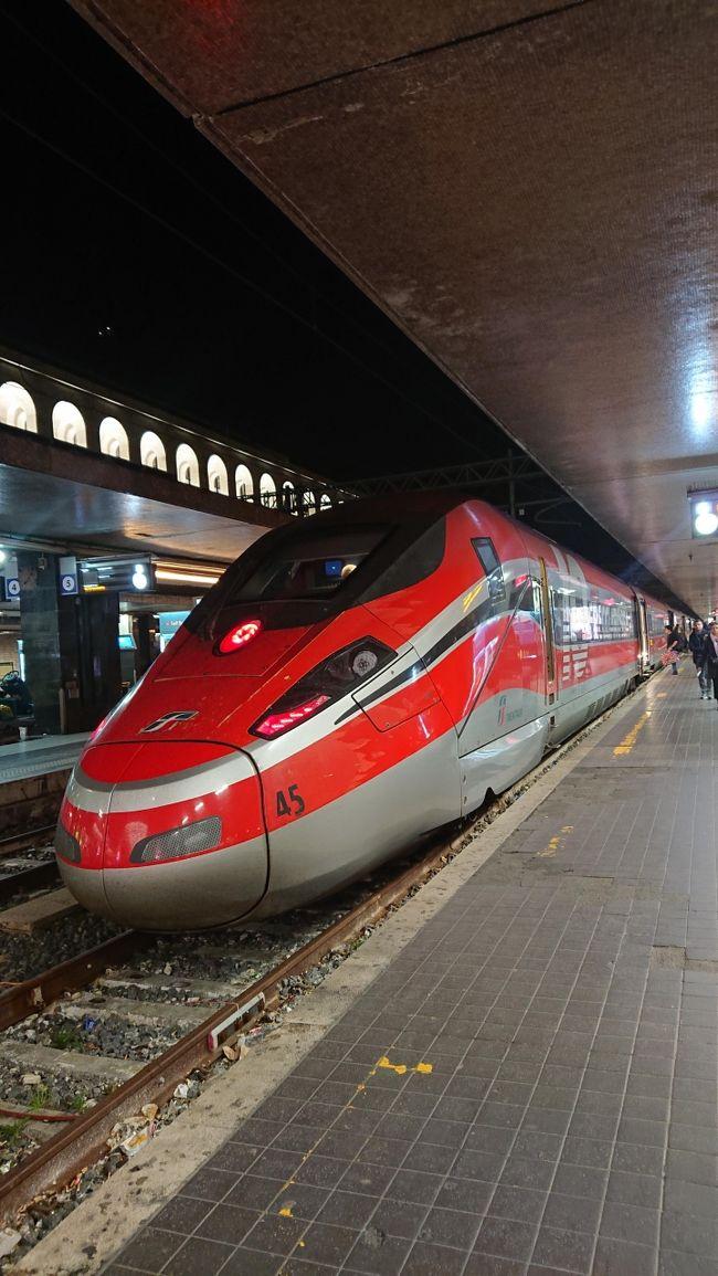 2019年12月クリスマスのイタリアに夫婦で行って来ました。<br />今回は南イタリアが目的地。2005年にイタリアにローマから日帰りツァーでナポリとポンペイに行ったことがありますがそれ以来です。<br /><br />航空券はJALでヘルシンキ経由ローマ往復を購入。成田ヘルシンキはマイルでアップグレードしました。ローマ到着後は空港駅でナポリまで窓口購入。<br />ナポリからバーリのバス、バーリからローマの列車は出発前にネットで購入しておきました。ホテルは予約サイト経由で事前予約しました。<br /><br />12月23日伊丹発成田経由でローマ、列車でナポリへナポリ2泊<br />12月25日ナポリからバスでバーリへ、バーリ3泊<br />12月29日バーリから列車でローマへ。ローマ2泊<br />12月31日ローマ発ヘルシンキ経由で成田へ。羽田へ移動して伊丹へ。<br /><br />一日目、移動の日です。<br />伊丹成田は8時発なので早朝車で伊丹空港へ向かいました。