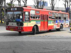 【爆走!前面展望 三菱路線バス 前車を追い越し激走!】日本三菱FUSO製 バンコクの路線バス