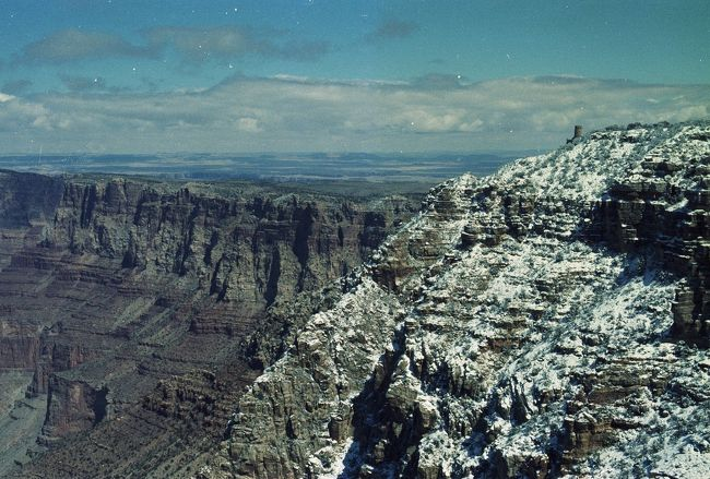 Grand Canyon South Rim under snow, 1979.<br /><br />A drive to winter Grand Canyon.<br />3/20 Joshua Tree NP, Quartzsite<br />3/21 Oak Creek, Flagstaff<br />3/22 Grand Canyon and drove home