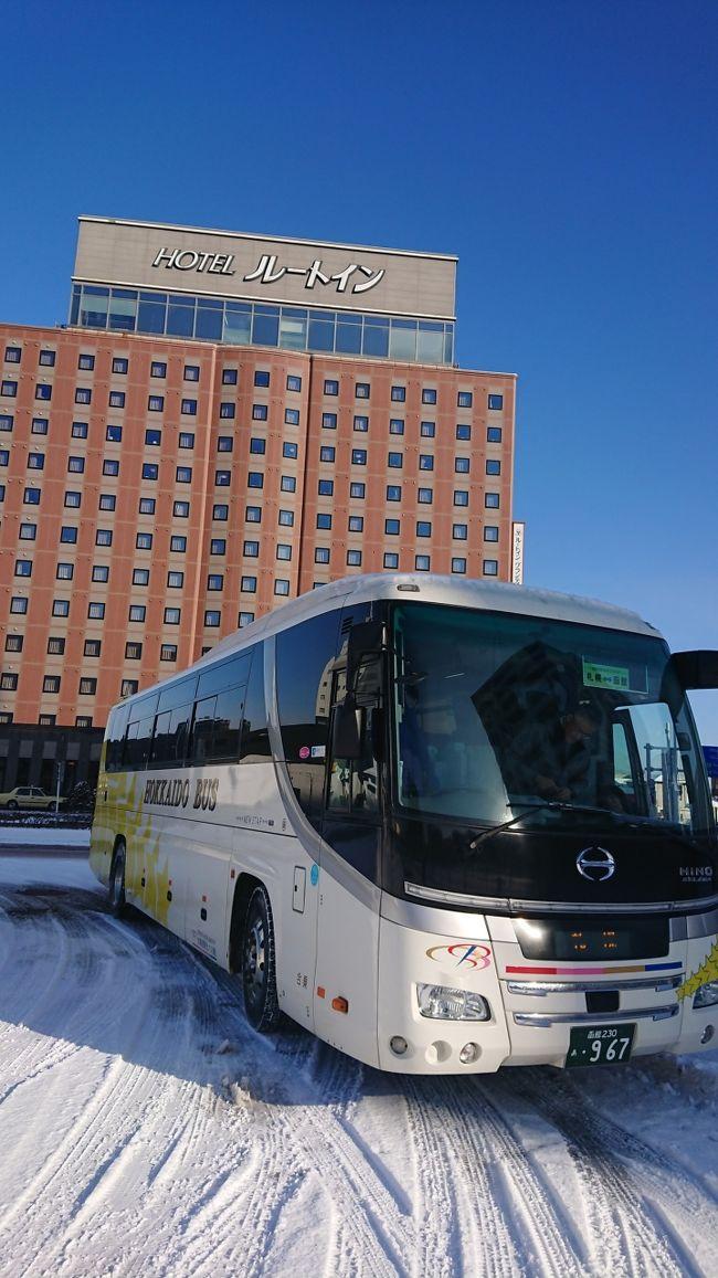 今年最初の函館、ルートイングランティア函館駅前にご挨拶を済ませ、いつもの事ですが大満足させていただきました。<br />続いて、私の愛車、函館特急ニュースター号に乗って、北海道の行き着く先!!JRイン札幌駅南口さんを目指します!