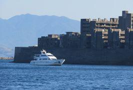 2019暮、福岡と長崎の名所巡り(20/23):12月10日(7):軍艦島(3):反時計回りに軍艦島を洋上から見学、高島炭鉱跡