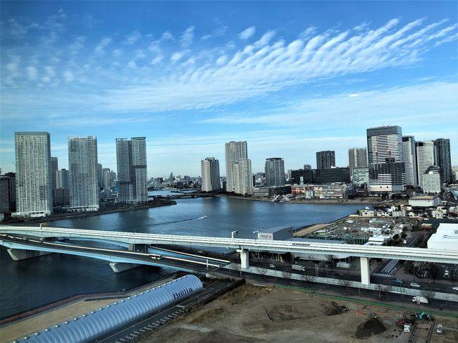 新年に帰省した長男を送りながら妹のお墓参りへ<br /><br />いつも宿泊しているお台場のグランドニッコーと<br />どちらに宿泊するか迷ったのですが・・・<br /><br />新築オープンの「JALシティ東京豊洲」に軍配(^^;)<br /><br />開業記念プランではありますが<br />トリプル朝食付きプラスルーム(17階)1人8300円は<br />なかなか良かったと思います<br /><br />ただ・・・<br /><br />指定の駐車場がないのよね~<br />(案内はしてもらえますが提携ではありません)<br /><br />近くに駐車場はそれなりにありますが<br />自分で確保しなくてはならないのが難点<br /><br />今回はホテルが入っているビルの駐車場に<br />止める事ができたのでラッキーでした<br />(最大24時間2400円・クレジットカードOK)<br /><br />公共の交通機関を利用するのであれば<br />目の前にゆりかもめの駅やバス停があります<br /><br />また、見学など豊洲市場を目的にする場合は<br />歩いて行けますので大変便利だと思います<br />(早朝、マグロのセリを見学してきました)<br /><br /><br /><br /><br /><br />