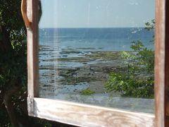 沖縄(1.4) 窓越しに海を眺めながらアイスをなめる。至福のひととき。
