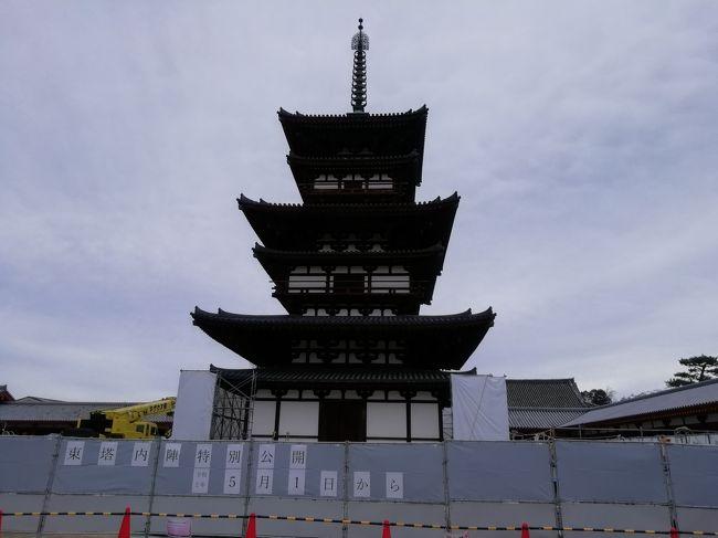 奈良市内のお寺南都七大寺を散策しました。<br /><br />丁度今年は平成21年から解体修理されてきた薬師寺さん東塔の大修理落慶法要が2020年春に執り行われます。<br />1300年間兵火や災害に耐え踏ん張っている東塔をいとおしく思います。<br /><br />因みに今回巡りました七大寺に法隆寺が入っていませんが、法隆寺さんは斑鳩にある為、法隆寺さんの代わりに唐招提寺さんを入れて七大寺としてもかまわないらしいので徒歩で1日で回れる奈良市内のお寺の方を選びました。<br /><br />::::::::::::::::::::::::::::::::::::::::::::::::::::::::::::::::::::::::::::::::::<br /><br />コロナウイルスの感染拡大に伴う措置で4月22日~4月26日の落慶法要<br />一般向けの落慶慶賛法要5月1日~5月10日<br />東塔初層内陣の特別公開5月1日~21年1月17日<br />何れも延期されています。