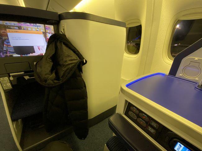 ANA 東京(成田)-大阪(伊丹)で、国際線機材が使われている便に乗りました。<br /><br />ファーストクラス・ビジネスクラスのシートが設置されており、早めに座席指定をしたので、エコノミーの料金で、ビジネスのシートに乗ることができました。<br /><br />旅行記にしていますが、便の情報とシートの紹介だけとなります。