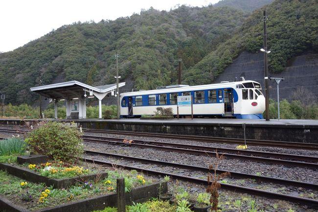 以前宇和島まで予讃線に乗ったり(旅行記未執筆)、高知県東部の鉄道に乗ったり(https://4travel.jp/travelogue/11490768)したのですが、その間の高知県西部から愛媛県南部は乗っていませんでした。なかなか本数も少ない等の事情から、がっつり1泊して、とにかく乗り潰す旅をすることにしました。<br />伊丹から高知までANA便。せわしなく高知駅から特急「あしずり」に。正直そんなに面白い景色はなかったですが、駅弁「かつおのたたき弁当」が予想外のうまさで満足。宿毛まで行って早々に折り返し、荷稲というところにある佐賀温泉というところで1泊、ここのメシはうまい、多いで大満足。<br />翌日はかの有名な予土線の新幹線(気動車)「鉄道ホビートレイン」のシュールな感じにニヤニヤ。しかしもう少しで予土線乗りつぶしというところで列車が止まる!飛行機の時間があるので泣く泣くタクシーで宇和島へ。そこから特急宇和海で松山へ。<br />おまけで、帰りは超短時間のANAプレミアムクラス体験。