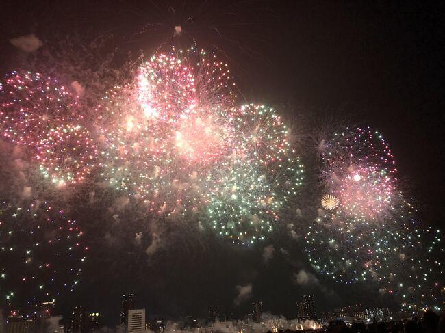 関西の花火大会の中でも、大規模な「なにわ淀川花火大会」。<br />私達が大阪にいた25年前頃は、大阪の花火と言えばPL、弁天さん、そして天神祭でした。<br />淀川の花火大会は、当時無かったように思います。<br /><br />昨年帰ってきて、TVで生中継をしているのを見て、奥様と「凄いね、近くで見てみたいね。」と話していたのですが、最近の花火大会は有料観覧席なるものが多くなってきて、この大会でもいろいろな種類が発売されてるようです。<br />毎年、早い段階で完売という事なので、アンテナを張って発売開始と同時に予約いたしました。<br /><br />花火見るのも有料席予約なんだ・・・、都会は違うな、と思っていましたが、実際に真近で見ると、その大迫力に圧倒されました。<br />特に、最後のスターマインは、その夜の夢に出てきました。<br /><br />昨年初めて見た宝塚歌劇で、ドキュンと撃ち抜かれた綺咲 愛里様の最後の公演を観劇後に向かう事としました。<br />綺咲 愛里様に撃ち抜かれた旅行記↓<br />https://4travel.jp/travelogue/11465975<br /><br />宝塚の煌びやかな余韻の中、宝塚南口から十三に向かい、18時30分に会場到着、19:40開始の光と音の競演を楽しんできました。<br /><br />1時間ほどのショー終了後は、十三駅周辺大混雑。<br />少し喫茶店で休憩し、帰路につきました。<br /><br />また、2020の開催を心待ちにしております。<br /><br />フィナーレの花火です。<br />https://youtu.be/gs5vqBHFx9Q