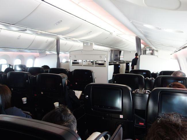 ロンドン旅行の最初の飛行機は成田までのボーイング787でした。国際線用の機材を使っていました。