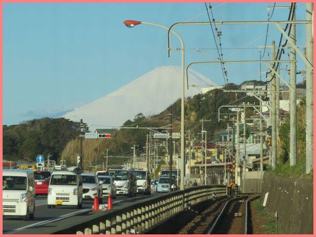 江ノ電の展望席で行く楽しい電車の旅。<br />中編は稲村ケ崎駅から江ノ島駅までです。<br />海沿いの美しい区間では車窓の江の島が近い!空気が澄んでいたこの日は前方に富士山がくっきりと見えていました。<br />アニメの聖地になったと言われる鎌倉高校前駅近くの踏み切りを通り過ぎ、江ノ電名物の路面電車区間の狭い路地を車とすれ違いながらゆっくりと走ります。<br />