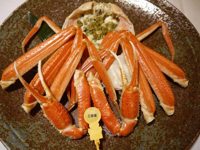 蟹食べたい。<br />美味しい蟹食べたい。<br />せっかく蟹食べるんだからハズレ蟹は嫌だ。<br />美味しい蟹を求めてどっか行こう。<br /><br />冬の北陸には美味しい蟹がある、とJRの駅にポスターが貼られまくってて、<br />それに煽られた感あります。<br />自宅最寄り駅にも職場最寄り駅にも北陸!蟹!ってめっちゃあるんだもの。<br /><br />どこがいいかな?<br />グランクラス、いまだに乗ったことないから気になってるけど高いなあ。<br />そして気が付いた、小松空港行き航空券が安いことに…<br />はい、飛行機の旅決定。<br />北陸では石川富山は何回か行ったことあるので、<br />未踏の地・福井県に目的地を定めました。<br />あとはタグ付き蟹食べれる旅館探し!もちろん温泉付きで!<br />これは案外あっさりで、「夕食には蟹」とうたっている温泉旅館でも県外産冷凍蟹の多いこと多いこと。<br />冷凍蟹でいいなら近所にたくさんあるよぉ。<br />希望日程で空室があってタグ付き蟹が出る旅館、なんと二つしか見つかりませんでした。<br />単に他が満室だったからかもしれませんが…<br />タグ付き蟹目当てなら石川県のほうが選択肢多いみたいですね。<br />その2つのうち、より風情がありそうな老舗旅館・つるやに宿泊決定!<br />現地での移動はレンタカーです。<br />雪道運転はもう何年もしていない夫がビビってましたが、<br />幸いにも雪はほぼない状態でした。<br /><br />羽田空港<br />↓<br />小松空港<br />↓<br />石川県九谷焼美術館<br />↓<br />ふくしん<br />↓<br />東尋坊<br />↓<br />IWABAカフェ<br />↓<br />つるや<br />↓<br />永平寺<br />↓<br />くら<br />↓<br />小松空港<br />↓<br />羽田空港