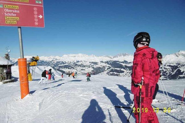ホテル・グリシューナに4泊した記録です。<br /><br />12月29日はダボスにスキー等のレンタルに出かけました、12月30日はダボスでスキー、私のスキーはストックルというスイス製のスキーで 日本でも使っていますがこちらの方が 非常に重くて疲れました。<br /><br />31日もダボスでスキー、スキーを終えてスポーツ店に板を返却して私は一人COOPのレストランに行き一杯やりました。<br /><br />31日は大晦日です、こちらで言うSilbesterです。<br /><br />1月1日は隣の駅のベルギュンで そりを借りて更に上流の駅 ランダまで行ってそりを楽しみました。<br /><br />ランダ・ベルギュン間をそりで滑る快適なものです。