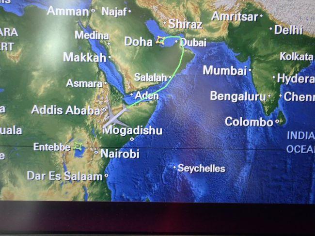 自分ではそれほど動物好きとの意識は無いけど、マウンテンゴリラに逢いたい思いが募り、ツアーでウガンダへ行くことになった。<br />候補S社はエチオピア航空利用なので、できれば避けたい。D社は2回ゴリラトレッキングが有るが、ルワンダへは行かない、訪問国を増やしたいGONTARAとしては、意向に沿わない。<br />で、結局、カタール航空利用と2か国に訪問するE社に決定!旅行記のタイトルのツアーに参加した。ゴリラトレッキングは1グループの人数制限が有るので、催行条件は最低5名、最大7名、今回の参加者は男性3名、女性4名の7名。その内ご夫婦が1組。7名中ビジネスクラス利用が3名。やっぱり高額なツアーに参加できるような人はビジネスクラスに乗るんだ、と卑屈になるGONTARAでした。<br />カタール航空は依然サウジアラビアに意地悪されてるので、上空通過ができないらしい、大きく迂回して飛んで、ウガンダのエンデベを目指して飛行する。