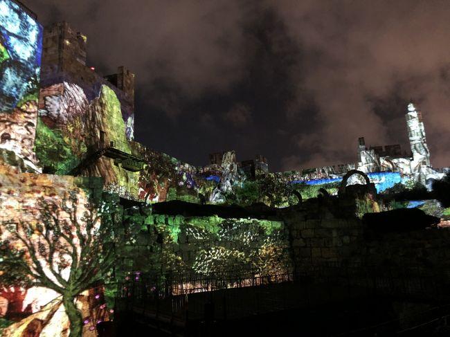 エルサレムは見る所一杯過ぎ!<br />写真はTower of David Museumのプロジェクションマッピング。<br />これ凄い迫力!<br />遺跡が全てスクリーンに!