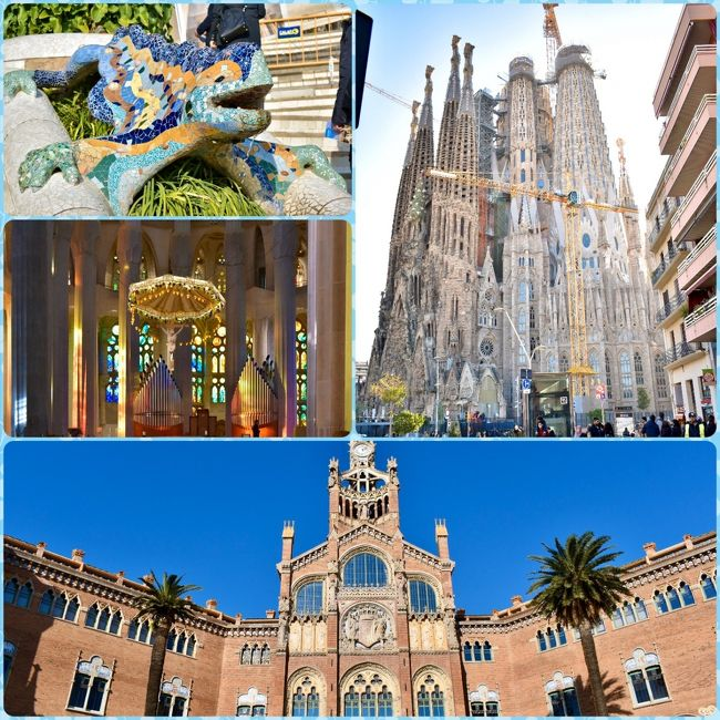 私はどちらかというと、同じところをリピートしない主義ですが、バルセロナは必ずもう一度行くと決めていた街でした。<br />約20年前にサグラダファミリアを見た時の衝撃。<br />19世紀から作ってるのに、まだ天井がない!?<br />青空の下の建築現場を見ながら、どんな教会になるのか思いを馳せ、いつか天井ができたら、また来ようと決意しました。<br />初めて行った当時はまだ新入社員で、旦那とも付き合い始めたばかり。<br />スペインから国際電話をかけたのが懐かしいです。<br />あれから約20年がたち、結婚して子供ができて家族4人での再訪となりました。<br />気づけば、会社を裏で牛耳るお局さまではなく、間に挟まっていつも心で泣いてる中間管理職です。<br />今回は実質2日の観光でしたが、ガウディとモンタネールの作品を訪れ、バルでおいしい料理を食べ、フラメンコも見て、バルセロナの魅力を堪能してきました。<br />初日の観光ルートは、カサ・ミラ→グエル公園→サン・パウ病院→サグラダ・ファミリア→カサ・バトリョです。<br /><br /><br /><日程><br />12/27 羽田から北京経由でローマ<br />12/28 ローマ終日観光<br />12/29 ローマ終日観光<br />12/30 ローマからフィレンツエに移動、シエナ半日観光<br />12/31 フィレンツエ終日観光 <br />1/1 ピサ半日観光、夜バルセロナに移動 <br />1/2 バルセロナ終日観光←ココ<br />1/3 バルセロナ終日観光<br />1/4 バルセロナから北京経由で羽田へ<br />1/6 羽田着