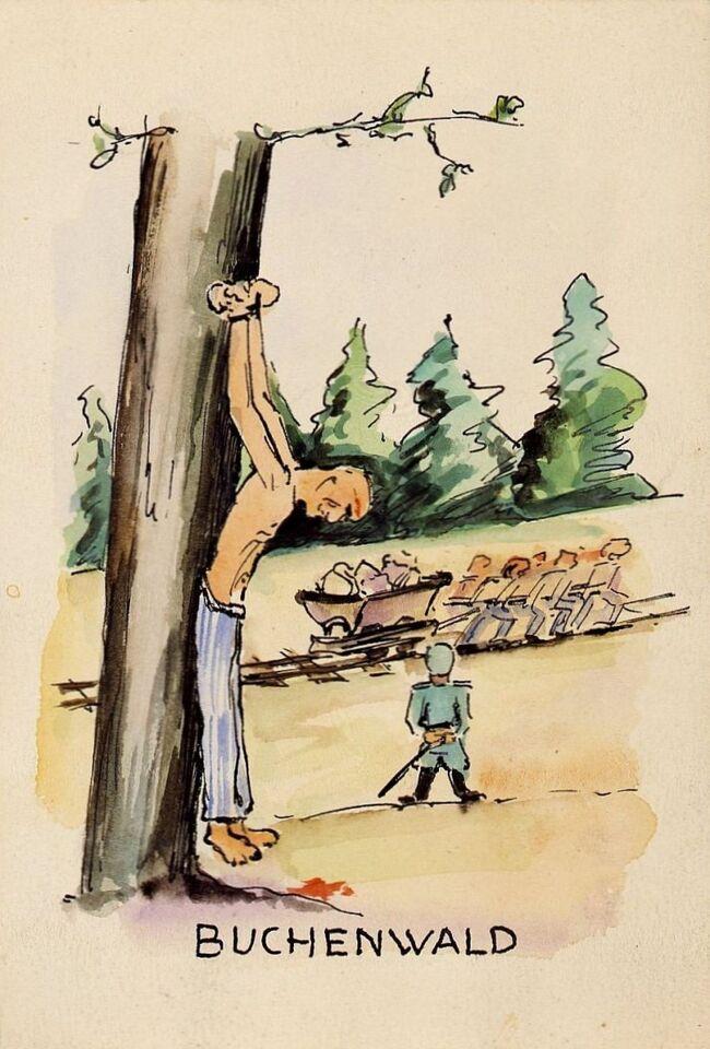 【枯死した『Goethe Eicheゲーテの樫の木』とブーヘンヴァルト強制収容所】<br /><br />ブーヘンヴァルト収容所でアンリ・ピエックが作画したと云われる「ぶら下がった木」と題する絵は強烈である。<br />しかもこの木は『ゲーテの樫の木』だというではないか。<br />それで囚人たちの『ゲーテの樫の木』の様々を見出す事となった。<br /><br />Zeichner:Henri Pieck (?) 画家*アンリ・ピエック(?)<br />Buchenwald, 1945ブーヘンヴァルト(1945年)<br />Karton段 ボール 、12,9 x 8,9 cm<br />&amp;copy;ドイツ歴史博物館、ベルリンInv.-Nr.: Kh 62/104<br /><br />写真はKZ- Buchenwald1945アンリ・ピエックが作画したと云われる「ぶら下がった木」<br />