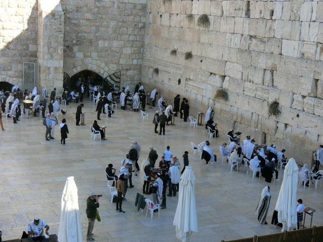 1ヶ月の有休でひとり旅。<br />行き先も決まらずに準備期間5日、準備期間がなくてもとっても楽しかったよ~という旅行記です。<br />自分用の記録と同じ地域にいく人への参考になれば幸いです。<br /><br />イスラエル初日は、入国とテルアビブからエルサレムへの移動でほぼ終わり。<br />2日目は、ガイドさんと一緒に、オリーブ山とベツレヘム(パレスチナ)観光。<br />3日はやっと本格的なエルサレム観光です。<br /><br />エルサレムはいろんな宗教の聖地ですが、無宗教の私なりに感じた書き方をしようと思います。<br />読み手によっては非礼な書き方もあるかもしれませんが、ご了承ください m(_ _)m<br /><br />エルサレムは朝でも混雑と聞いていたので、早起きして旧市街へ向かいます。<br />通勤の時間帯ですが、路面電車はぎゅうぎゅうになることはなさそうです。乗っている人たちを見ていると皆さん宗教的に服装が違うことがわかり、異国感(日本と違うなぁ)を感じます。<br /><br />エルサレムで劇混必死は、聖墳墓教会です。<br />ここは、イエスが十字架にかけられた場所であり、お墓もここにあります。<br />同時にヴィア・ドロローサの最終地点です。<br /><br />ヴィア・ドロローサとは、イエスが捕らえられた後、自分の掛けられる十字架を背負い、刑の執行される場所まで歩いた道とされている場所のことで、エルサレムの旧市街の中にあります。<br />約1kmの道の中には1~14の番号が振ってあり、それぞれの場所で起きたことを辿ることができます。<br />道中イエスが鞭で打たれたところ、マリアが十字架を背負ったイエスを見たところ、磔の十字架を立てた場所、お墓、といった具合です。<br /><br />日本で旅程を考えていたときにこの道のことを知り、是非順番に辿りたいと思いました。<br />それが、今日です。<br /><br />旧市街の中は入り組んでいて、ほぼ迷路。ガイドブックの地図はあまり役に立たず、目的地の方角を知れる程度です。<br />道の角などに時おり地図や矢印があるので、それと回りの人たちを頼りに進みます。<br /><br />2番、鞭打ちの教会でイエスは十字架を背負わされます。<br />驚いたのは、レンタル十字架があること!<br />ヴィア・ドロローサを歩いていると、当時のイエスを思わせるような服装に大きな十字架(158cmの私にちょうどよさそうなサイズ)を背負っている人、服装は普通で背負っている人、グループで1つの十字架を持っている人をちらほら見かけます。<br /><br />日本で「日光で江戸村で町娘の衣装を着てみよう!」とはちょっと訳が違う様子。<br />シリアスな面持ちのグループ、中には涙を流している人もいます。驚いたのは、アフリカ系のグループは大きな声で歌を歌いながら進むなど、宗派?国?によってリアクションが全然違うこと。<br /><br />あと、観光ツアーの人たちが多い。旅先でアジア人や西洋人の観光ツアーはよく見かける光景ですが、インド人(インドにもキリスト教信者は多いとガイドさんに聞きました)のツアー、アフリカ人のツアーグループを見かけたことはこれまで記憶にはないです。が、ここにはたくさんのグループが。<br />宗教の吸引力というか、パワーを感じました。<br /><br />ステーションと呼ばれる各ポイントを歩いて進みますが、最後の4つのステーションを有する聖墳墓教会は混雑の次元が違う!<br />そりゃそうだ。<br />だってここは、イエスが磔にされて、息を引き取り、マリアが亡骸を受け取り、お墓が存在するんだから。<br /><br />上記の4つの場所にそれぞれまた人が並んでいるんです。<br />そしてどこもきれいな列ではないので、いろんなところで小競り合いが。。<br />気持ちはわかりますけどね。国も異なる外国人同士がぎゅうぎゅうで並んでいると、私の前の人も私を泥棒と疑っているような目付きで見られたり(そんな気がした)、誰が押したとか押さないとか、そんなかんじですよ。<br /><br />そんな中も、回りの人たちと「やれやれ」なんて目配せしながらひたすら待つんです。1時間とか普通に。<br /><br />やっと私の番になったとき!!!<br />回りはいとおしそうに磔の十字架の立っていた穴があったとされる場所をさすったり、お祈りの言葉をかけたり、写真をとったり、時に涙を流しているのですが、、、<br /><br />私、感情が沸き起こらない!<br />ここまで並んできたけど、私はどうリアクションしたらよいのかわからない!<b