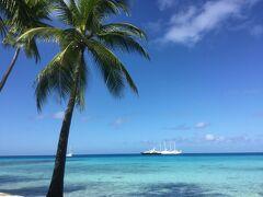 '18 春 ランギロア島-タヒチ ランギロアブルーの海 ①星野リゾート キア オラ ランギロア到着編
