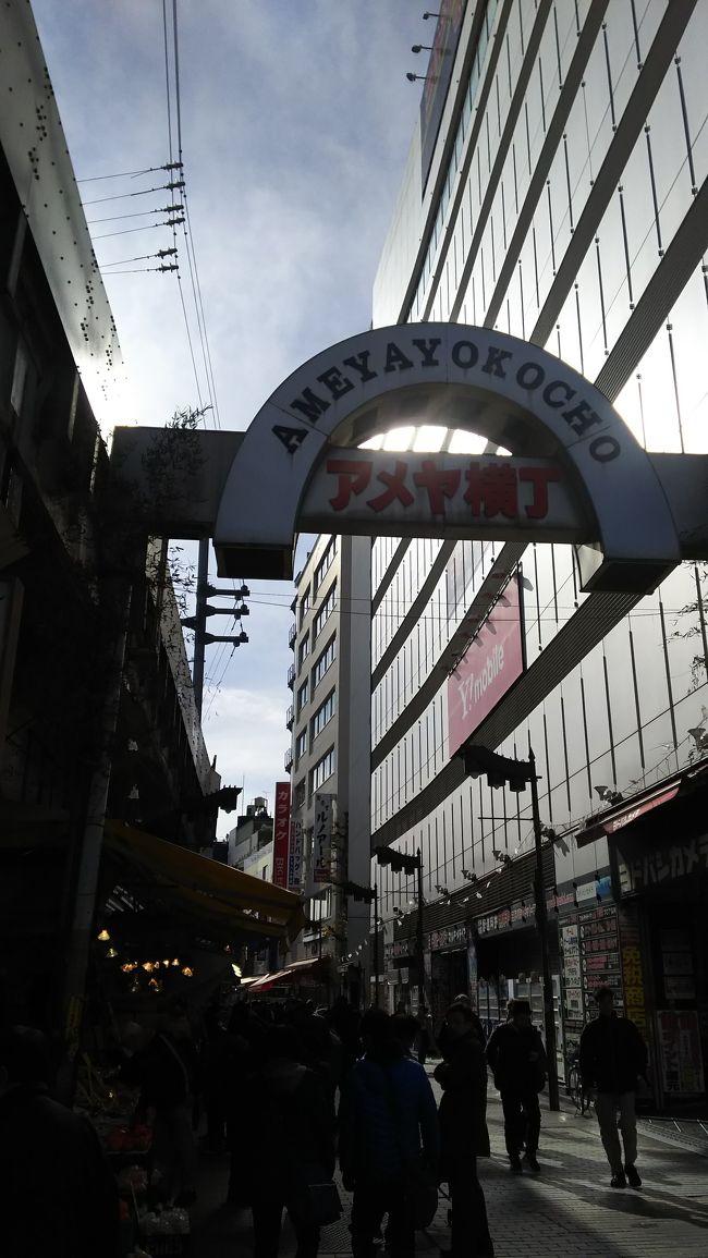 上野恩賜公園内の散策のあとは、アメ横にも足を運びました。<br /><br />クリスマスイブでしたので、買い出し客がたくさんいました。<br /><br />たくさんのお店が並び楽しい商店街でした。
