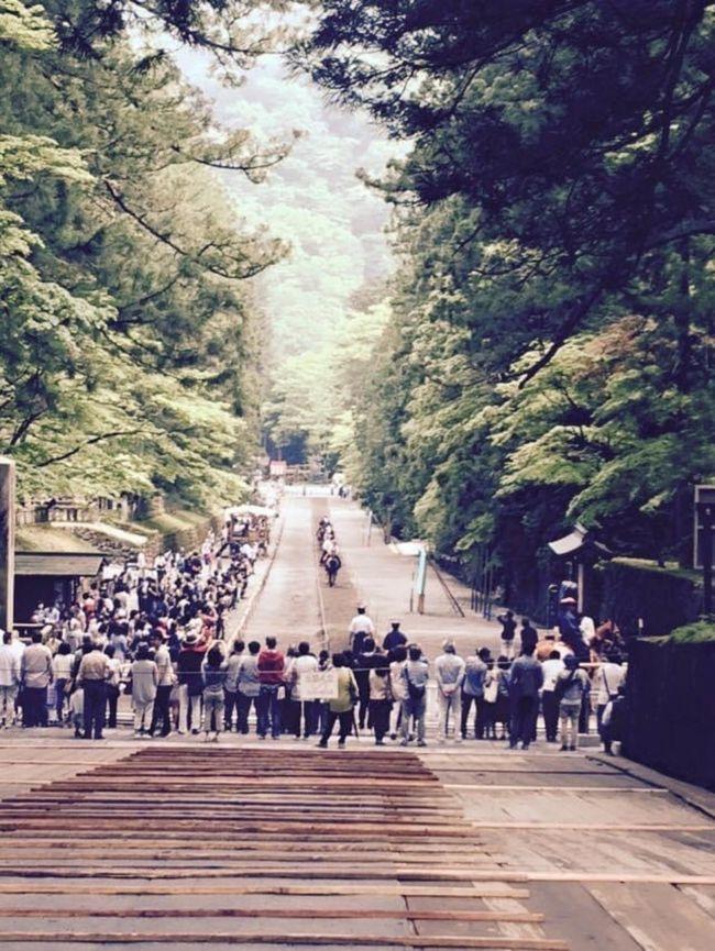 徳川家康公没後400年のため「東照宮大四百年式年大祭」が2015年5月17日に行われました。<br /><br />家康公は1616年に駿府城で亡くなったのですが、日光東照宮では50年に一度大祭を行なっているそうです。<br /><br />私が習っている日本舞踊の会では定期的に伊勢神宮へ伊勢音頭などの踊りを奉納に行っていました。また毎年5月17日には日光東照宮へ踊りを奉納するのが会の習わしでした。<br /><br />が、踊りの名取のお姉さま達が75歳を過ぎますと皆さん突然足腰が弱り、一人減り二人減り、と踊り手さんが少なくなり、2年ほど前から参加を辞めました。今では良い思い出となってしまいました。因みに大先生は80歳を過ぎた今も新型コロナウィルスにも負けずピンシャンしていて現役のお師匠さんです。流石です。もちろんお稽古は自粛中ですが。<br /><br />写真は踊りを披露する日光杉並木のある表参道。<br />奉納の後または翌日に流鏑馬があり、この日は翌日の流鏑馬の前に馬慣らしをしていました。