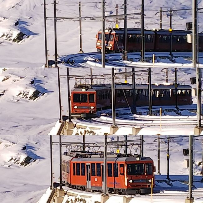 スキー2日目、昨日に続いて快晴。<br />今日は、ゴルナーグラートとスネガを滑る。<br /><br /><br />