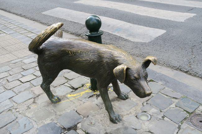 ブリュッセル名物「小便わんこ」を探して、ブリュッセルの街を彷徨った?<br />事前にグーグルマップで、何度も「小便わんこ」のいる場所を確認した。<br />聖カトリーヌ教会の前の広場から続く通りを、通り沿いに緩くカーブしながら西南に歩いていくと、「小便わんこ」はいるはずだった!