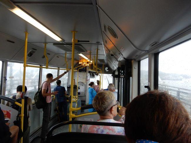 同じロシア国内でも、モスクワやサンクトペテルブルグよりもウラジオストックの方が、キャッシュレス化されていて、小銭を用意しなくても良く便利に利用できた。(空港連絡バスの運賃とホステルのデポジットを除けば)<br />ロシア文字は分からずともグーグルマップを利用すれば、路線バスのルートを確認出来た。<br />ロシアで初めて路線バスに乗ったのは、2015年08月19日(水) ユジノサハリンスクで、運賃は乗車後、乗客越しにバケツリレーの様に運転手に手渡しにするワゴン車だった。<br />当時料金は15ルーブルと聞いていたのだが、17ルーブルに値上がりしていた。<br />そして、今回よりも2ヶ月ほど前の2019年7月には、サンクトベルグやモスクワを訪れた時に利用した。その際は、車掌さんみたいな人が車中で乗車した人から直ちに料金を徴収する仕組みで現金が必要だった。料金は40ルーブルだった。