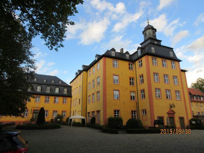 2019年ドイツのメルヘン街道と木組み建築街道の旅:27最後の古城ホテル ゲーデルン城は町の経営、初めての宿泊である。
