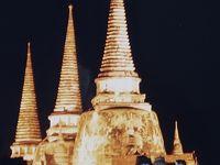 タイ王国5日間1999-3 古都-アユタヤ-遺跡のライトアップ ☆象に乗り歴史公園めぐりも
