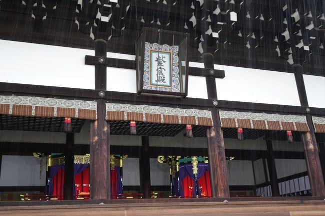 烏丸通りブラブラに戻りまして、丸太町を過ぎると京都御苑。ここも色々懐かしいんで、入ってみます。<br /><br />と、一般参観の日ですのね。行ってみますと…すげぇ雨ですね。あんま観られんかった…