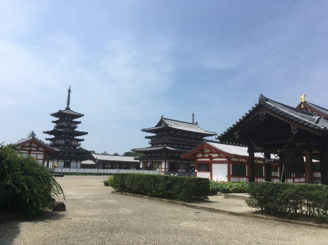 3日目は薬師寺、唐招提寺、東大寺、と奈良旅行の定番コースを巡りました。<br />ホテルには16時前と早めに到着したのでホテルに隣接する旧大乗院庭園をさくっと散策して、夕食まで休憩。 <br />夕食は久しぶりに口休めのソルベまで出るフルコースをいただきました。<br /><br />8/3(月)東京発 新大阪着 1:00現地集合後ツアー開始 古墳群遊覧飛行 橿原今井町 ザ・橿原泊<br />8/4(火)橿原神宮 神武天皇稜 藤原宮 大神神社 石舞台古墳 キトラ古墳四神館 飛鳥寺 <br />8/5(水)薬師寺 唐招提寺 東大寺 旧大乗院庭園 奈良ホテル泊<br />8/6(木)飛火野での鹿寄せ 鹿苑 春日大社 15:25 関西空港発ANA992 16:30 羽田着
