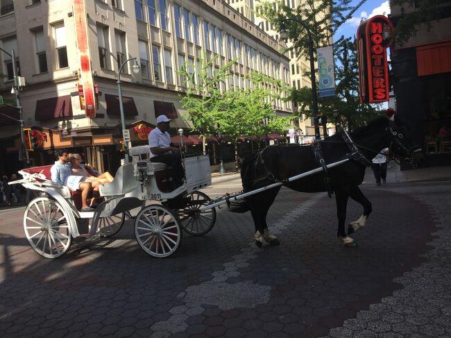 高級ホテルやビジネスビルのエリアの大きな通りのピーチツリー。馬車がとおったりして素敵な雰囲気でした。
